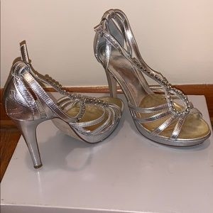 Also silver dress evening shoes rhinestones